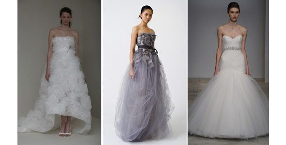Monique Lhuillier, Vera Wang and Kenneth Pool wedding dresses