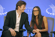 Geek chic: Demi Moore rocks thick rimmed glasses