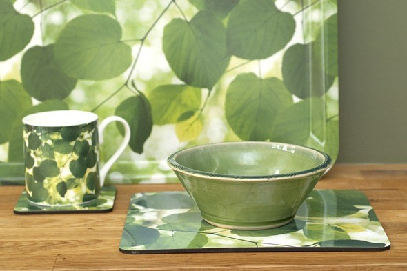 green leaf print mug and bowl