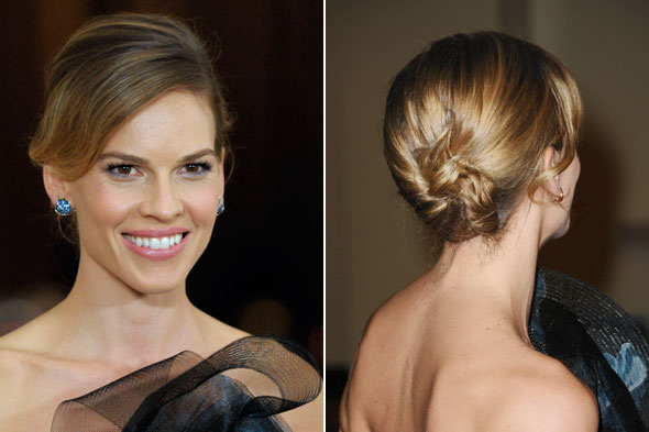 Get The Look Hilary Swank S Sleek Updo