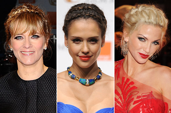 Edith Bowman, Jessica Alba and Sarah Harding wore braids at the 2011 BAFTA awards