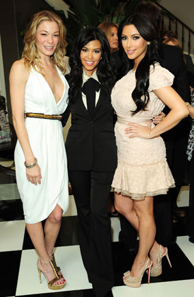 Kim and Kourtney Kardashian with LeAnne Rimes