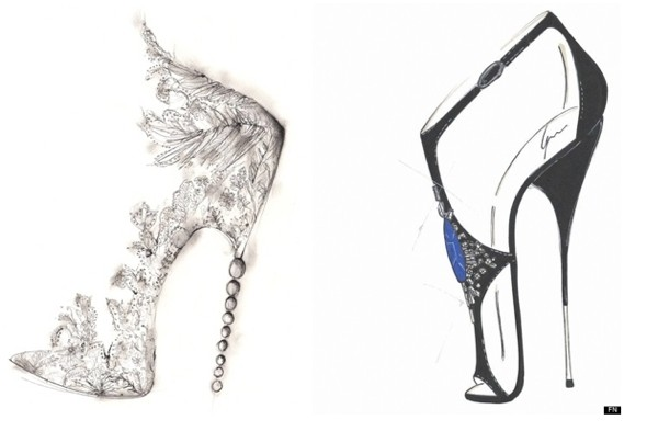 Kate middletons royal wedding shoes manolo blahnik and guiseppe georgina goodman left and guiseppe zanotti sketch their designs for the royal wedding photo wwwdfootwear news junglespirit Choice Image