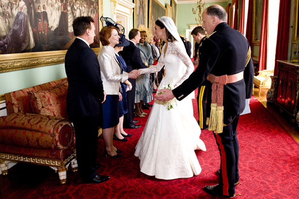 Kate greets wedding guests