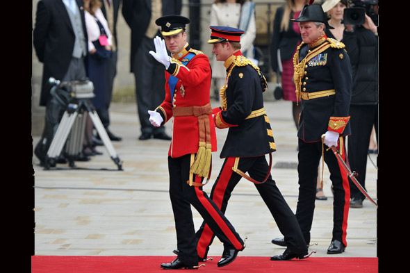Prince William and Prince Harry at the Royal Wedding