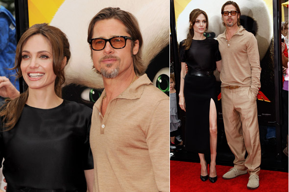 Brad Pitt and Angelina Jolie on the red carpet at the Kung Fu Panda 2 premiere in LA