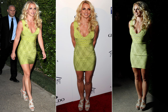 Britney Spears makes her red carpet return at the Evening of Southern Style in green bandage dress