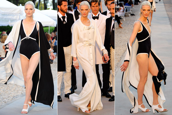 Kristen McMenamy 46 year old model walks Chanel Cruise catwalk in Cannes in swimming costume
