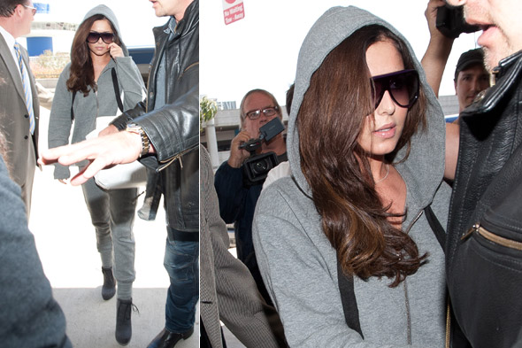 Cheryl Cole in a grey tracksuit at LAX airport