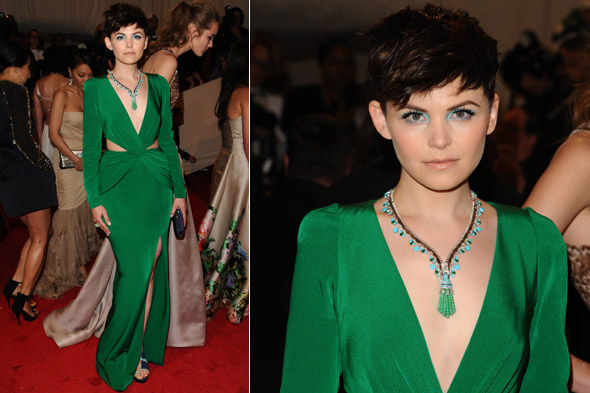 Ginnifer Goodwin wears emerald green Topshop dress to 2011 Met Ball Gala
