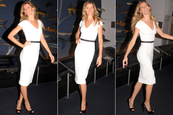 Gisele Bundchen in a white dress at the Champions of the Earth awards in New York