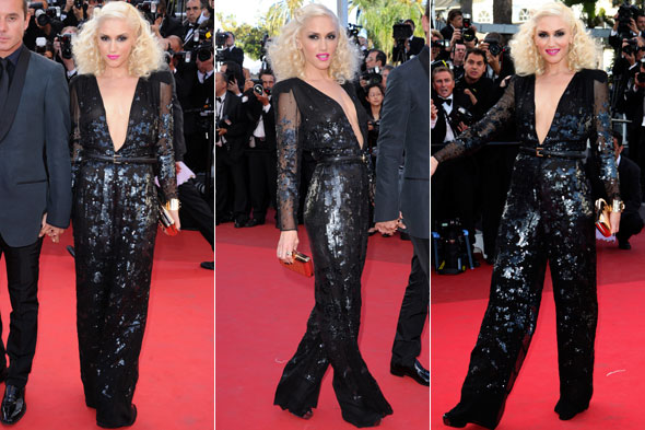 Gwen Stefani at Cannes Film Festival in black Stella McCartney jumpsuit