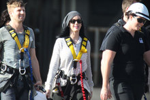 Cowa-bungee: Katy Perry dresses down for a pre-concert bungee jump