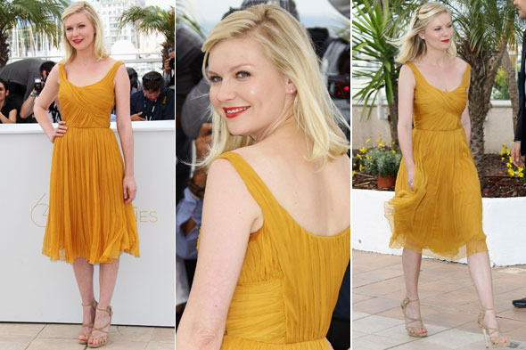 Kirsten Dunst in yellow at the Melancholia photocall in Cannes