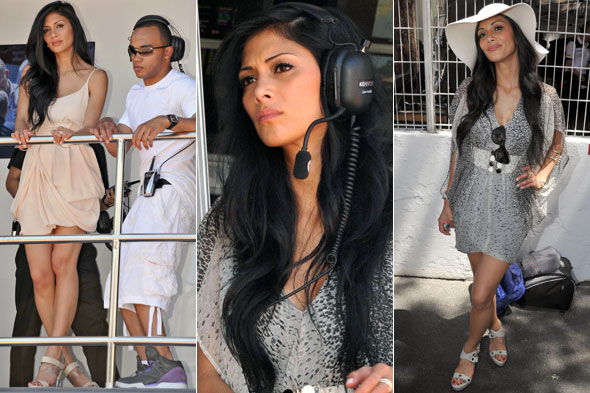 Nicole Scherzinger cheers on Lewis Hamilton at Monaco Grand Prix