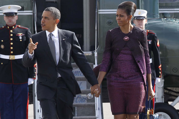 Barack and Michelle Obama depart the UK at Stansted Airport
