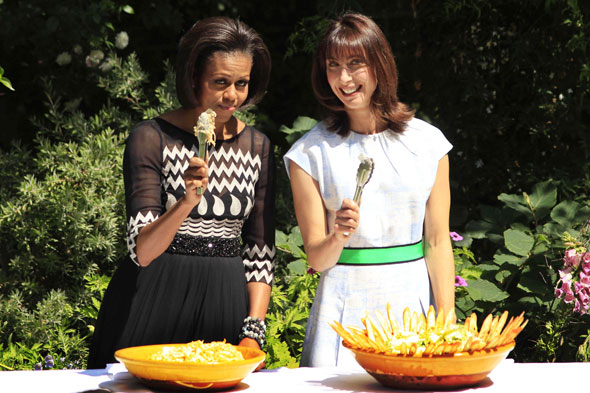Michelle Obama and Samantha Cameron serve up the salad at the Downing Street BBQ