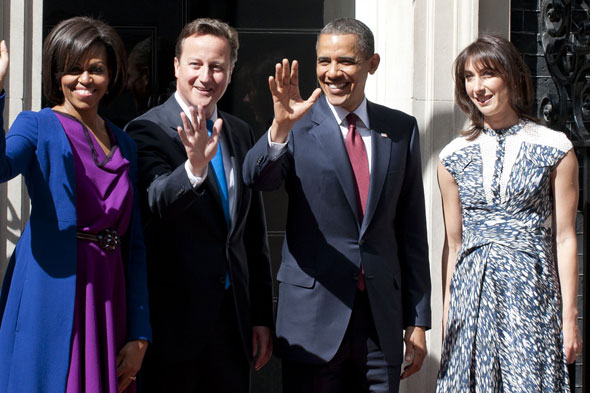 Michelle and Barack Obama meet David and Samantha Cameron at 10 Downing Street