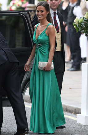 Pippa Middleton in green Alice Temperley dress at royal wedding reception