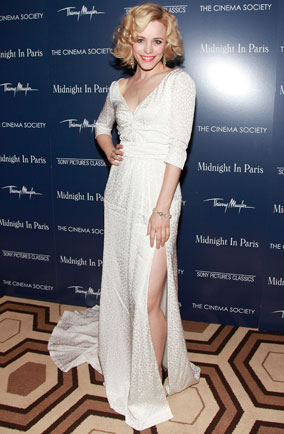 Rachel McAdams in white dress at Midnight in Paris New York screening