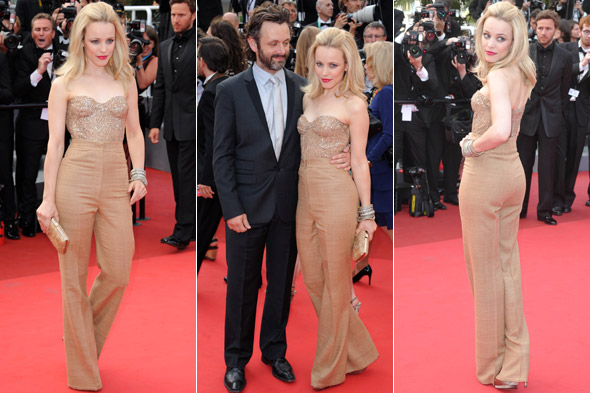 Rachel McAdams and Michael Sheen at the Sleeping Beauty premiere in Cannes - Monique Lhuillier trousers