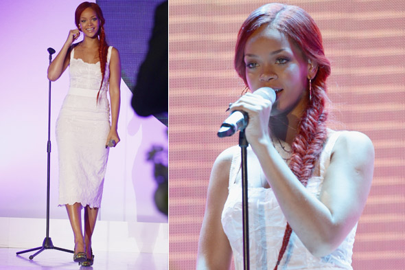 Rihanna wows in white dress at Nivea 100th Anniversary event in Milan