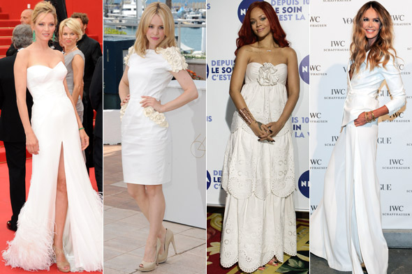 Uma Thurman, Rachel McAdams, Rihanna and Elle Macpherson wearing white