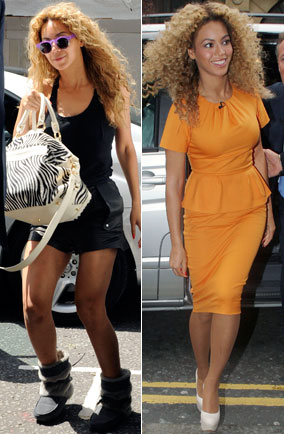 Beyonce at offices in Camden and outside Harrods in london in yellow