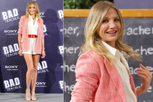Cameron Diaz does her best 'Bad Teacher' impression in red tweed blazer