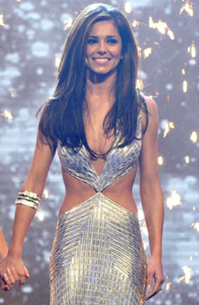 Cheryl Cole during the 2008 X factor finale in silver Julien Macdonald dress