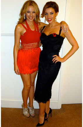 Kylie and Dannii Minogue backstage at the X Factor