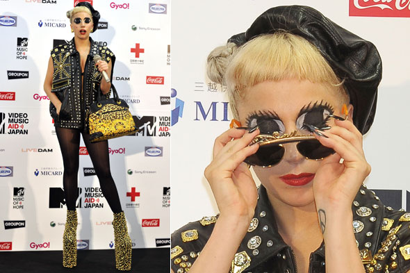 Lady Gaga after her MTV Video Music Aid Japan concert, with big cartoon eyes painted on