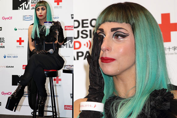Lady Gaga sheds a tear during the MTV Video Music Aid Save Japan press conference in Tokyo