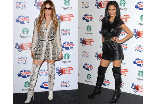 Jennifer Lopez and Nicole Scherzinger at the Capital FM Summertime Ball