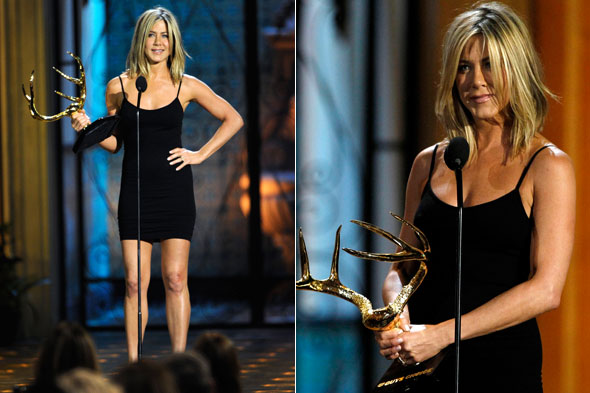 Jennifer Aniston accepts the Decade of Hotness award at the Spike TV Award in skimpy black Azzedine Alaia dress
