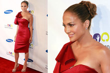 Jennifer Lopez flies the flag for Brit fashion in figure-hugging red frock