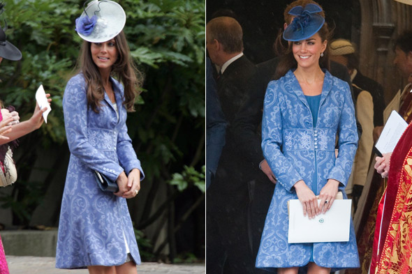 Kate Middleton/Duchess of Cambridge wears same blue jaquard dress coat twice.