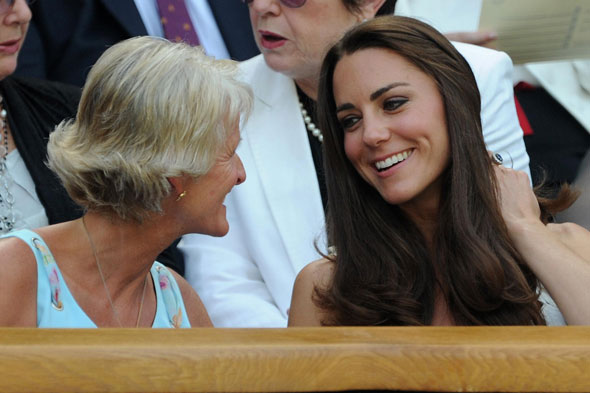 Kate chats to Gill Brook, wife of All England Club chairman Philip Brook