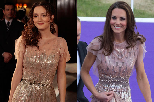 Leighton Meester and Kate Middleton/Duchess of Cambridge in the same Jenny Packham dress