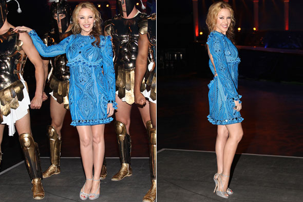 Kylie Minogue launches Australian leg of Aphrodite Les Folies world tour in Brisbane in blue Pucci dress