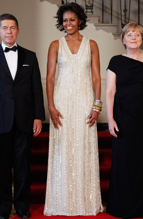 Michelle Obama at a state dinner for the German Chancellor