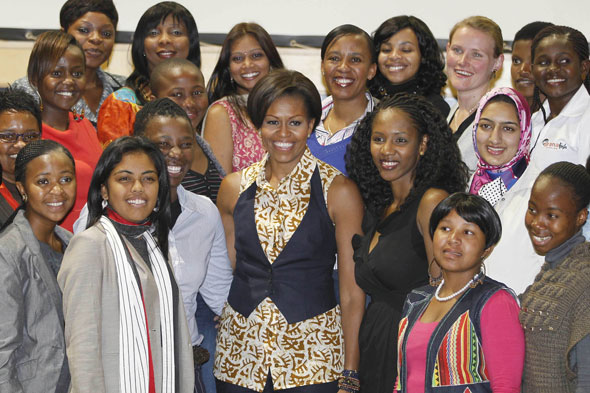 Michelle Obama in South Africa wearing a shirt from ASOS
