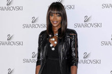 Naomi Campbell rocks LBD and leather jacket to Swarovski fashion bash