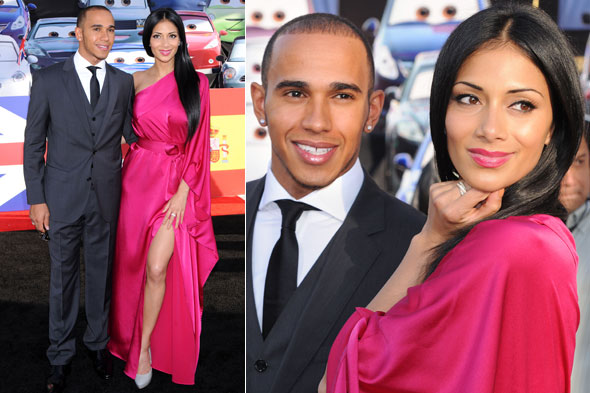 Nicole Scherzinger and Lewis Hamilton at the world premiere of Cars 2 in LA