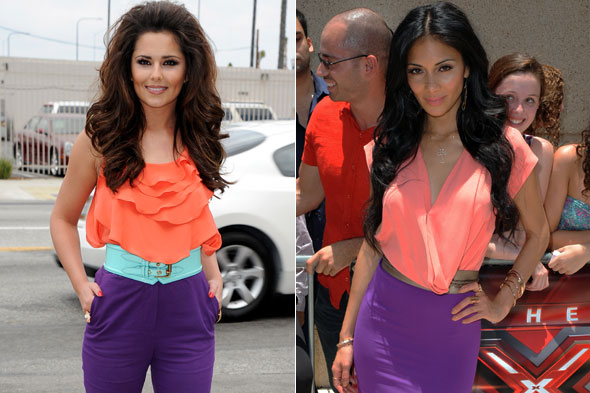 Nicole Scherzinger steals Cheryl Cole's orange and purple X Factor outfit
