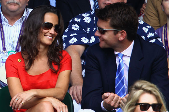 Pippa Middleton and Alex Loudon watch Roger Federer play at Wimbledon