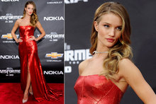 Rosie Huntington-Whiteley is sizzling in scarlet at Transformers NY premiere
