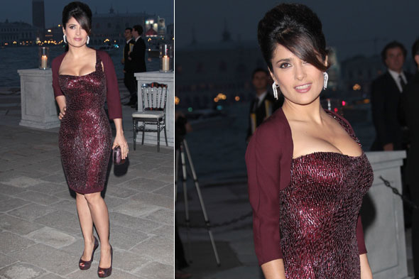 Salma Hayek at a dinner in Venice in maroon Gucci dress