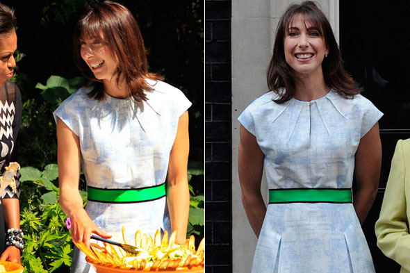 Recycled style: Samantha previously wore this Jonathan Saunders dress to host a Downing Street BBQ with the Obamas