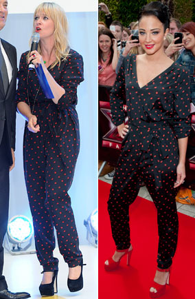 Edith Bowman and Tulisa Contostavlos in DKNY jumpsuit